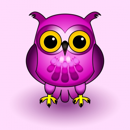 Fun and cute owl cartoon character, all in pink and purple tones, over soft background with drop shadows.
