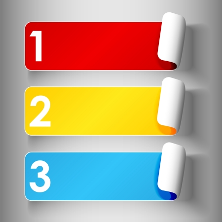 rectangle: Set 1 of cute and colorful peeling off label or sticker in primary colors with shadows, big 1,2,3, numbers in white over light grey gradient background, ready for your text. Illustration