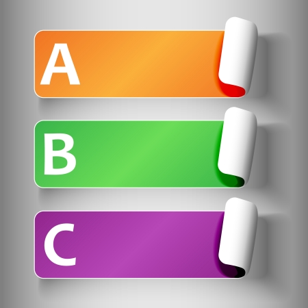 secondary colors: Set 2 of cute and colorful peeling off label or sticker in secondary colors with shadows, big A, B, C letters in white, over light grey gradient background, ready for your text.