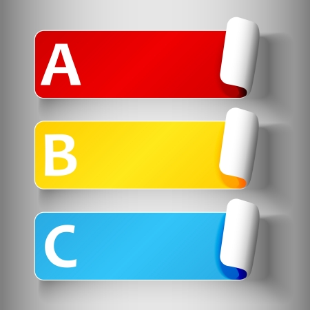 primary colors: Set 1 of cute and colorful peeling off label or sticker in primary colors with shadows, big A, B, C letters in white, over light grey gradient background, ready for your text.