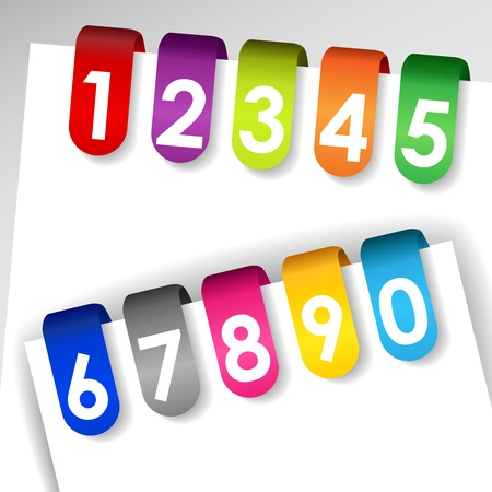 filing system: Set of colorful file or paper tags with shadows and numbers, perfect for filing system, medical or legal records.