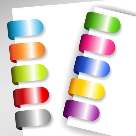Set of colorful metallic file or paper tags with shadows, perfect for ads and the like Vector