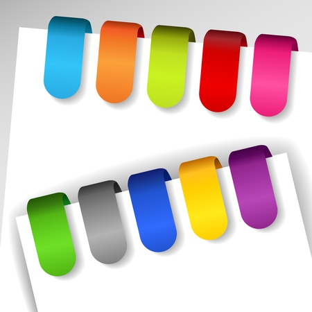 Set of colorful file or paper tags with shadows, perfect for ads and the like Illustration