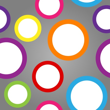 Seamless pattern made of cute and fun white circles with colorful borders over gradient grey background. Vector