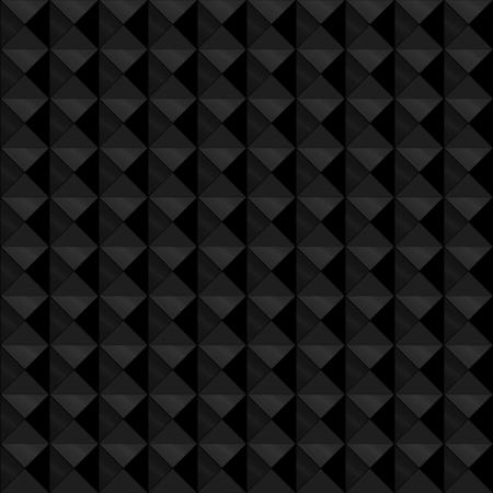the depth: Seamless pattern made of relief or embossed geometric triangles in square formation, with the black and dark grey tones with metallic shine, giving it depth.