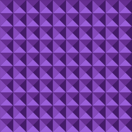Seamless pattern made of relief or embossed geometric triangles in square formation, with the purple tones giving it depth