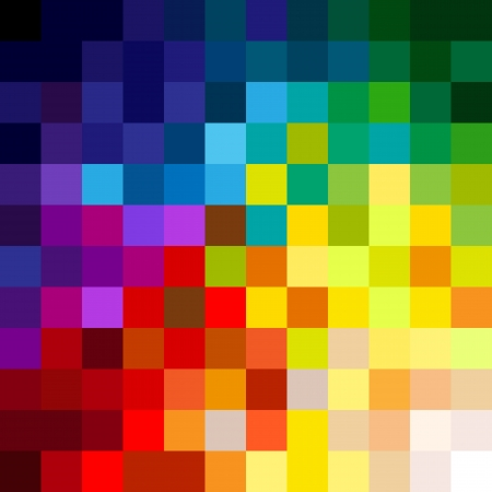 Fun and very colorful series of squares or pixels in all the colors of the spectrum, from light to dark
