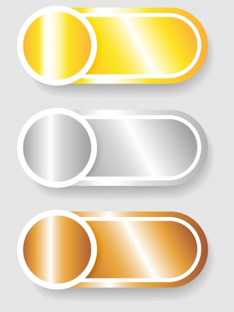Set 3 of circle with shadow over cylinder label or sticker with shadows, metallic gold, silver and bronze, ready for your text, as web buttons, labels, tags or stickers