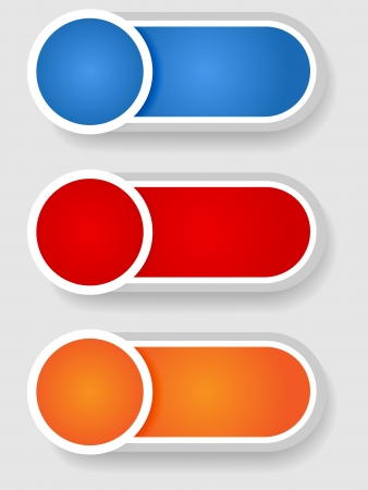 blue button: Set 2 of cute circle with shadow over cylinder label or sticker with shadows, gradient colors, ready for your text, as web buttons, labels, tags or stickers