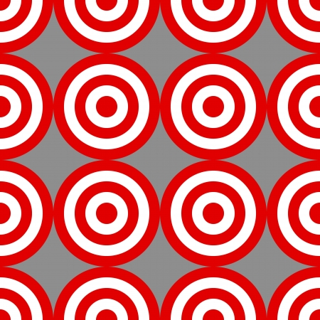 targets: Seamless pattern made with circle red and white targets over grey; great endless wallpaper, background, fabric and the likes. Illustration
