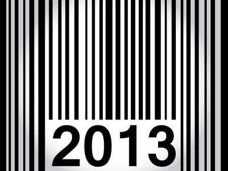 Forma original para desearle feliz a�o nuevo 2013 con c�digo de barras en negro sobre blanco a gris degradado. Foto de archivo - 16062372