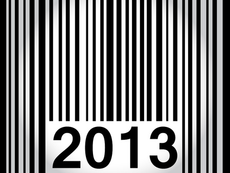 Original way to wish happy new year 2013 with bar code in black over white to grey gradient.