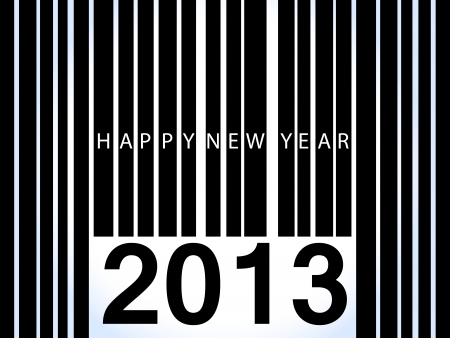 Happy new year in text over black bar code with 2013 below, over light blue background