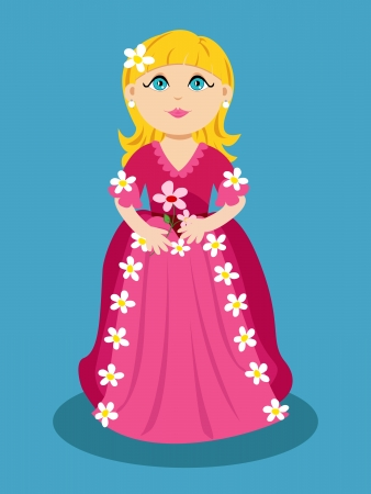 be dressed in: Cute cartoon of a little girl with flowers can be princess, all dressed in pink.
