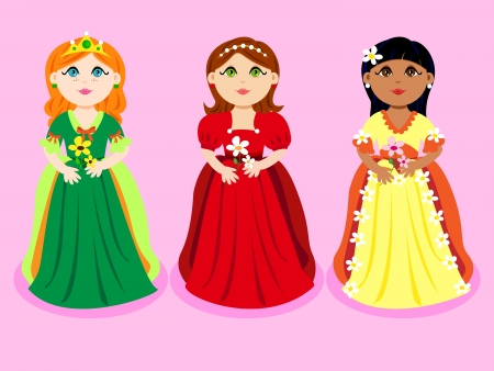 Cute cartoon of a three little girls or princesses, of diverse ethnicity with flowers.