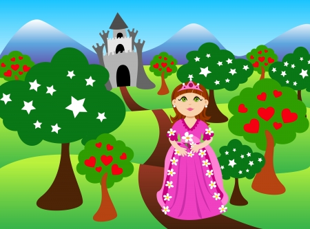 Cute cartoon of a brunette little princess, dressed in pink in front of colorful castle landscape. Vector