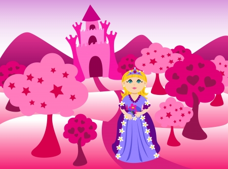 Cute cartoon of a blond little princess, dressed in pink in fron of pink castle landscape.