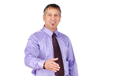 Friendly middle age man, can be salemans or profesionnal, smiling and ready to shake hand.