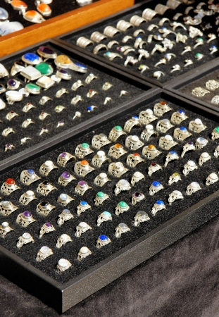 merchant: Handcrafted silver rings with natural stones, made by street merchant artist jeweler