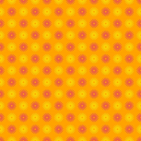 Seamless pattern made of fun colorful yellow and pink floral or sun like symbol, over orange background, gingham illusion, great floral wallpaper or fabric.