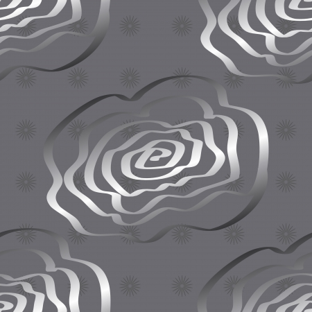hand drawn rose: Seamless pattern made of silver hand drawn rose flowers over grey tone background, great floral wallpaper or fabric.