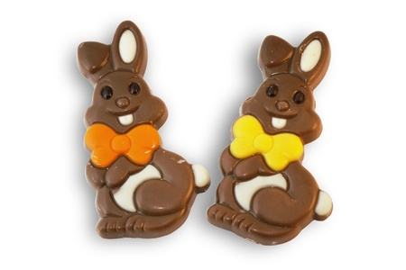 Cute and fun chocolate Easter bunnies or rabbits, on white background.
