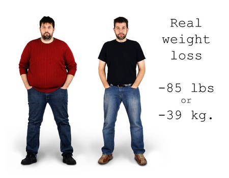 Real before and after shots of 85 pounds or 39 kilos weight loss by a tall middle aged bearded white man, great for health and fitness concept.