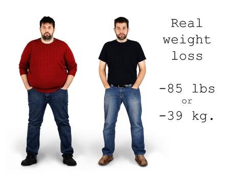 hombre con barba: Real antes y despu�s de tiros de 85 libras o 39 kilos de p�rdida de peso por medio de una altura de entre barbudo blanco, ideal para la salud y el concepto de fitness.