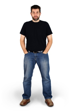 Complete body shot of a tall guy looking at camera, real ordinary middle aged bearded white man, can be actor or regular joe.