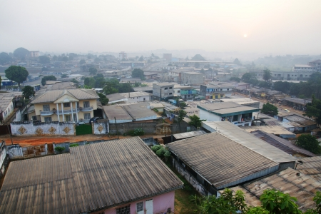 Early morning lights on a typical central African metropol, developping country, Yaounde, Cameroon. Stock Photo - 17743012