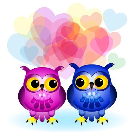 Schattig en leuk cartoon uilen, een roze en een blauwe, kijken naar elkaar met veel verschillende transparante harten op de achtergrond, grote liefde of Valentijnsdag kaart.