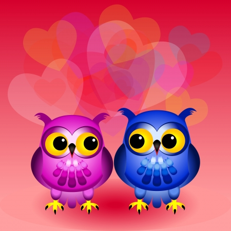 owl illustration: Cute and fun cartoon owls, one pink and one blue, looking at each other with lots of multiple transparent hearts in the background, great love or Valentines day card.