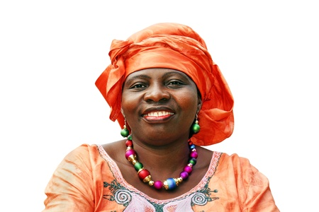Beautiful African woman with orange scarf on white
