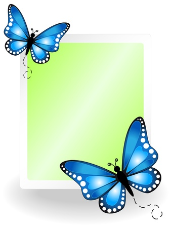 blank tablet: Butterflies with blank message board or tablet