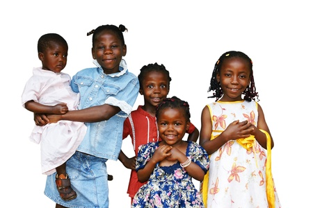 overpopulation: Happy African kids all girls or sisters of the same family isolated on white Stock Photo