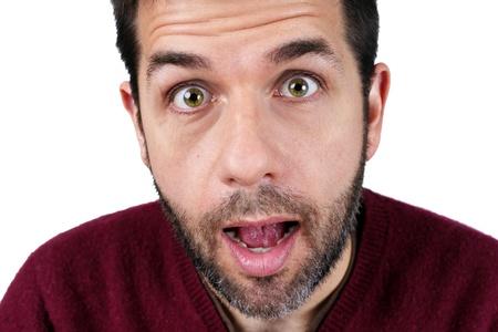 cara sorprendida: Retrato de un sorprendido hombre de mediana edad caucásico