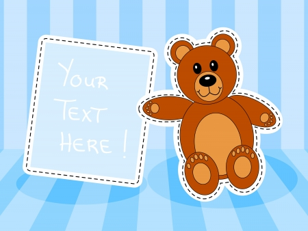 Cute brown teddy bear with blank sign over in blue room for baby boy announcement Vector