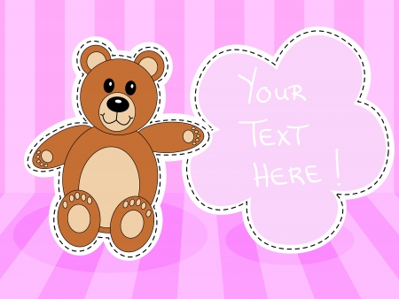 Cute brown teddy bear with blank sign over in pink room for baby girl announcement Stock Vector - 18797621