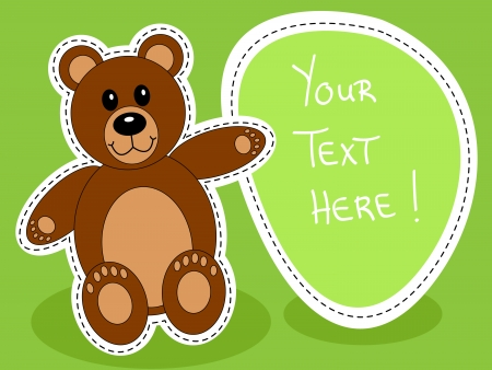 Cute brown teddy bear with blank sign over green background