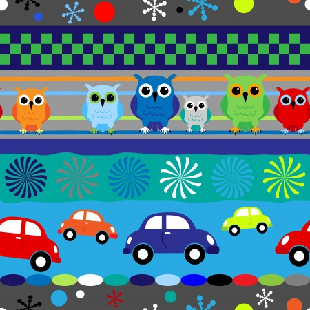 Seamless fun stripes with cartoons owls and cars in blue, red and other little boy colors. Vector