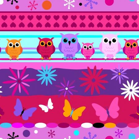Naadloze: Naadloze leuke strepen met cartoons uilen en vlinders in roze, paars meisje kleuren.