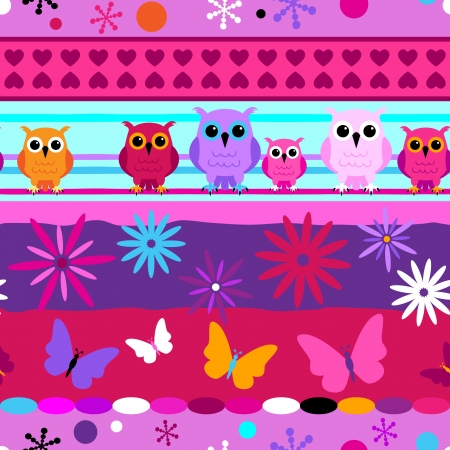 Seamless fun stripes with cartoons owls and butterflies in pink, purple girl colors. Vector