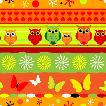 Seamless fun colorful stripes with cartoons owls and butterflies in orange, green, yellow and red. Vector