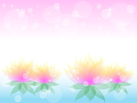 nymphaea: Soft transparent water lilies flowers with yellow and pink petals over airy background with bokeh