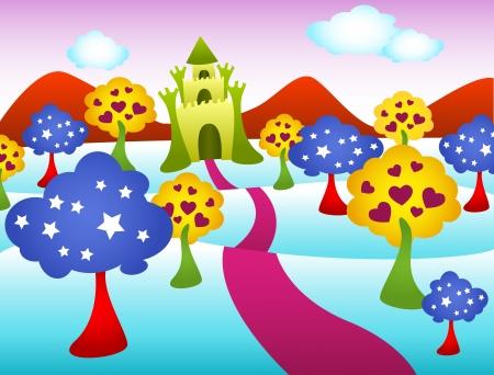 Colorful fairy tale castle landscape.