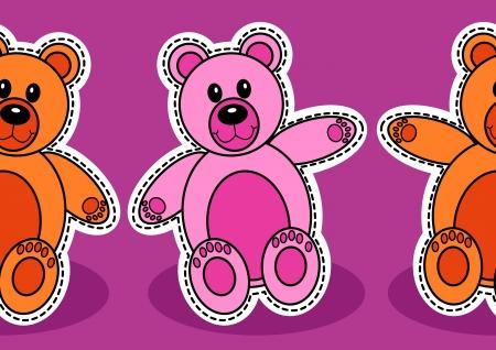 Seamless teady bear pattern over purple background Stock Vector - 18797618