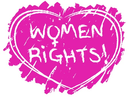 civil rights: Original grunge women rights symbol with pink heart