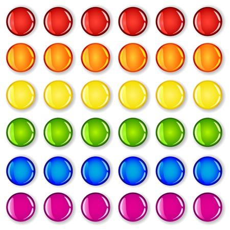 bue: Glossy buttons with shadows in rainbow colors making pattern