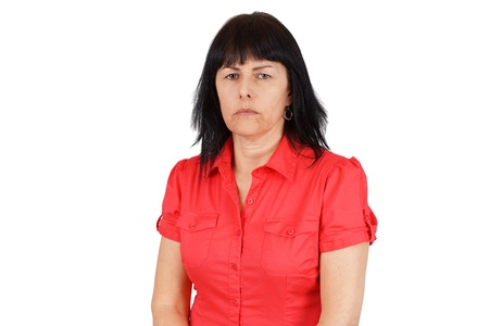 Middle age woman looking upset or angry photo