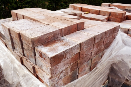 Construction material: paver bricks to be installed on a patio